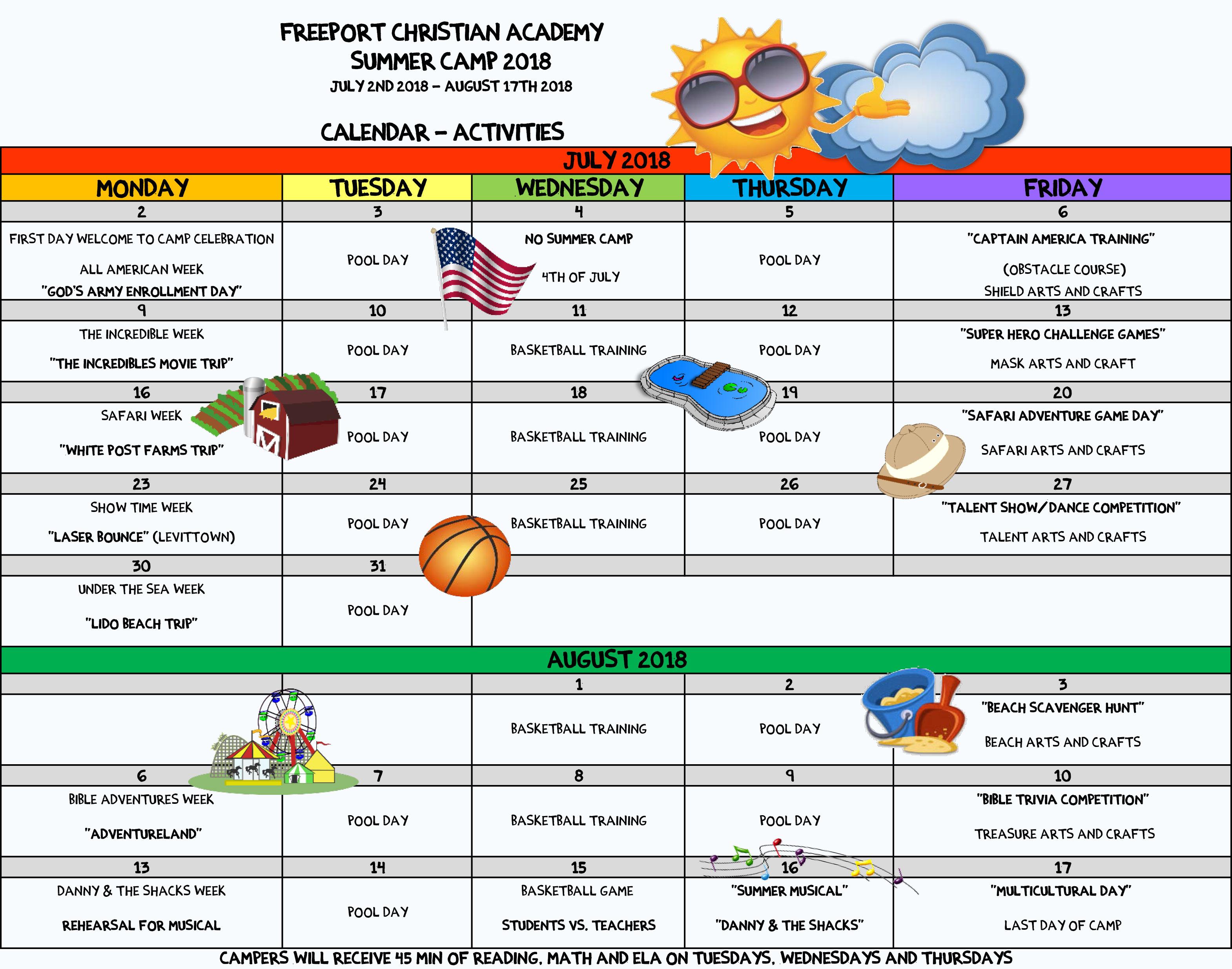 summer 2018 calendar